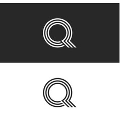 monogram q logo letter black and white typography vector image