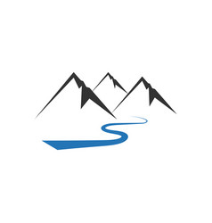 mountain river icon design template isolated vector image