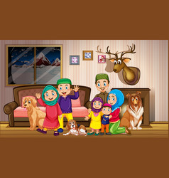 Muslim family in house vector