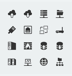 network mini icons set vector image