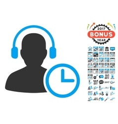 Operator Time Icon With 2017 Year Bonus Symbols vector
