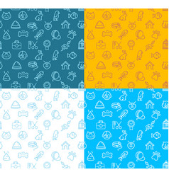 Pet shop signs seamless pattern background set vector