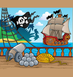pirate ship deck theme 4 vector image