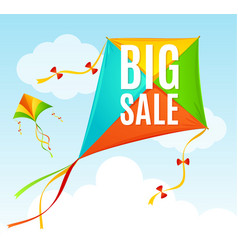 realistic detailed 3d kite sale concept card vector image
