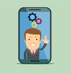 Screen smartphone with virtual assistant vector
