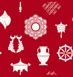 Seamless pattern with eight auspicious symbols vector