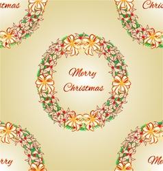 Seamless texture Merry Christmas Wreath vector