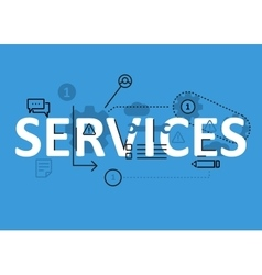 Services concept flat line design with icons and vector image vector image