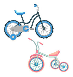 Set of bicycles for children realistic vector