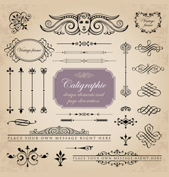 Set of calligraphic and page decoration elements vector