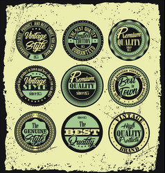 Set of retro styled labels with grunge background vector