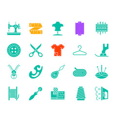 Sewing color silhouette icons set vector