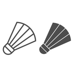 shuttlecock line and glyph icon badminton vector image