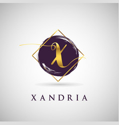 simple elegance initial letter x gold logo type vector image