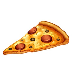 Slice of pepperoni pizza vector