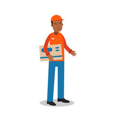 Smiling delivery man standing and holding big vector