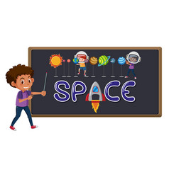 space logo on blackboard with cute boy isolated vector image