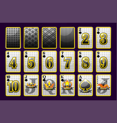 Spades suit poker playing cards for poker and vector