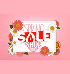 spring sale advertising banner lettering shopping vector image