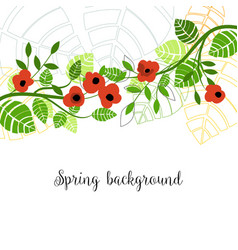 spring trees in bloom green leaves and buds vector image