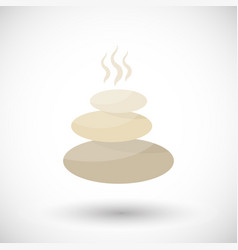 Steaming spa stones flat icon vector