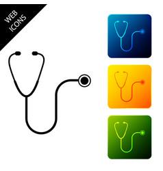 stethoscope medical instrument icon isolated set vector image