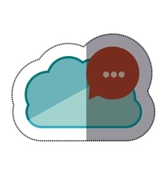 Sticker blue cloud with red dialog with white vector