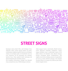 street signs line design template vector image