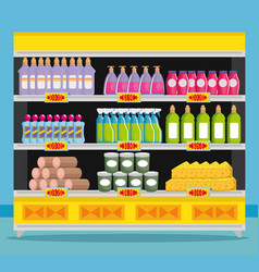 supermarket shelvings with products vector image