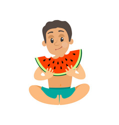 Teenager eating watermelon summer fruit vector