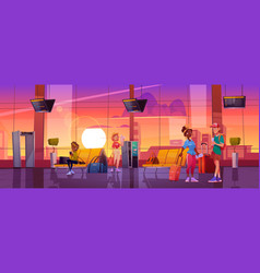 Travelers in airport waiting room departure area vector