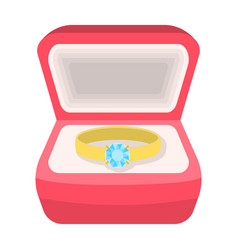 wedding ring with a diamond in a box gift to the vector image