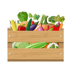wooden box full vegetables vector image