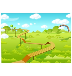 Wooden freeways over forest vector