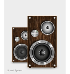 Wooden two way audio speaker vector image