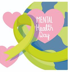 world mental health day green ribbon planet vector image