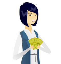 Young asian business woman holding money vector