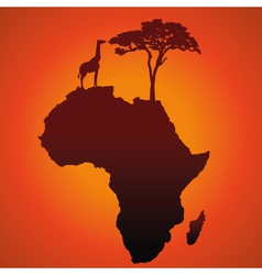 African Safari Map Silhouette Background vector image vector image