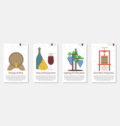 four banner for wine production vector image vector image