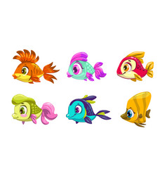 funny cartoon colorful fishes set vector image