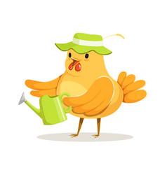 funny chicken gardener wearing a green hat vector image vector image