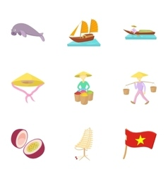 Holiday in Vietnam icons set cartoon style vector image