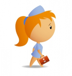 little cute nurse with case vector image vector image
