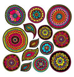 set of zentangle elements indian patterns vector image vector image