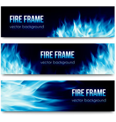Abstract banners set with blue fire flames vector image vector image