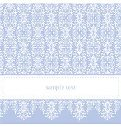Blue card or invitation with classic floral lace vector image vector image