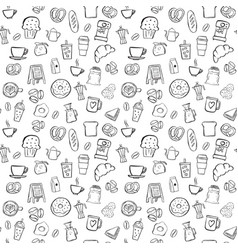 Coffee shop seamless pattern background set vector