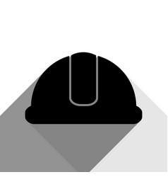 hardhat sign black icon with two flat vector image