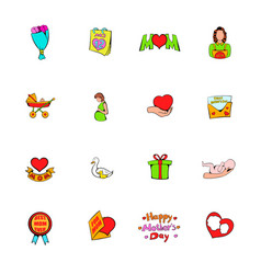 mothers day icons set cartoon vector image vector image