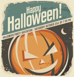 Retro poster template with Halloween pumpkin head vector image vector image